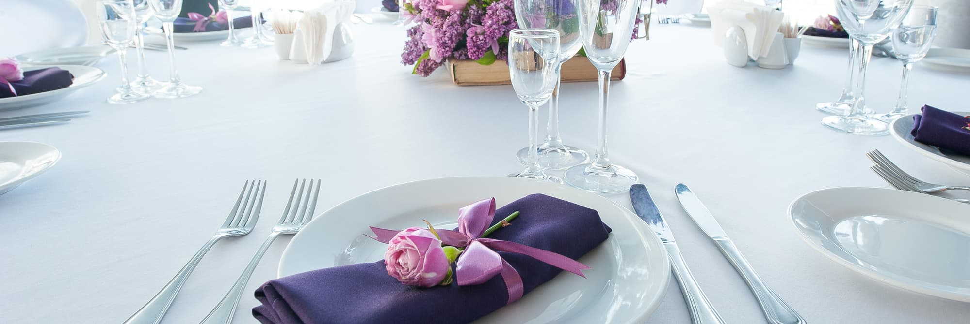 Taste Catering Venues Special Event with Purple Linens